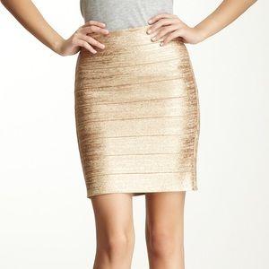 NWOT Haute Hippie Gold Glitter Bandage Skirt Small